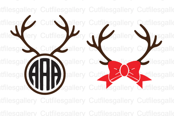 Download Free Deer Antlers Christmas Svg Graphic By Cutfilesgallery Creative for Cricut Explore, Silhouette and other cutting machines.