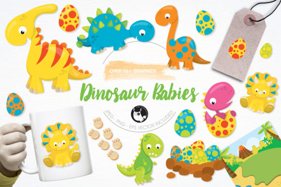 Print on Demand: Dinosaur Babies Clipart Set Graphic Illustrations By Prettygrafik