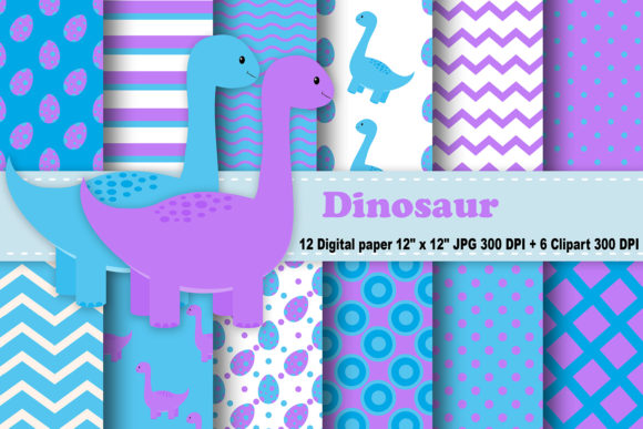 Print on Demand: Dinosaur Digital Paper Graphic Patterns By CosmosFineArt