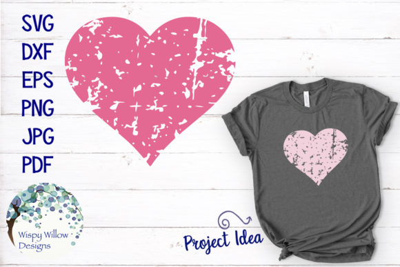 Download Free Distressed Grunge Heart Graphic By Wispywillowdesigns Creative for Cricut Explore, Silhouette and other cutting machines.