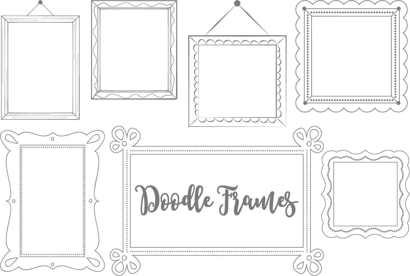Download Free Doodle Frame Set Graphic By Sonyadehart Creative Fabrica for Cricut Explore, Silhouette and other cutting machines.