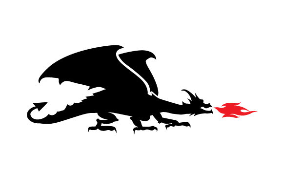 Download Free Dragon Silhouette With Red Fire Out Of His Mouth Svg Cut File By for Cricut Explore, Silhouette and other cutting machines.