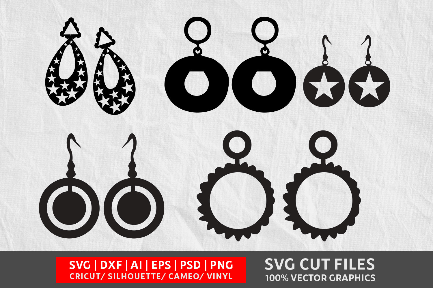 Download Free Earrings Graphic By Design Palace Creative Fabrica for Cricut Explore, Silhouette and other cutting machines.