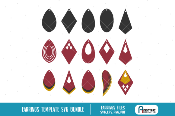 Earrings Template Svg Bundle Graphic Crafts By Pinoyartkreatib