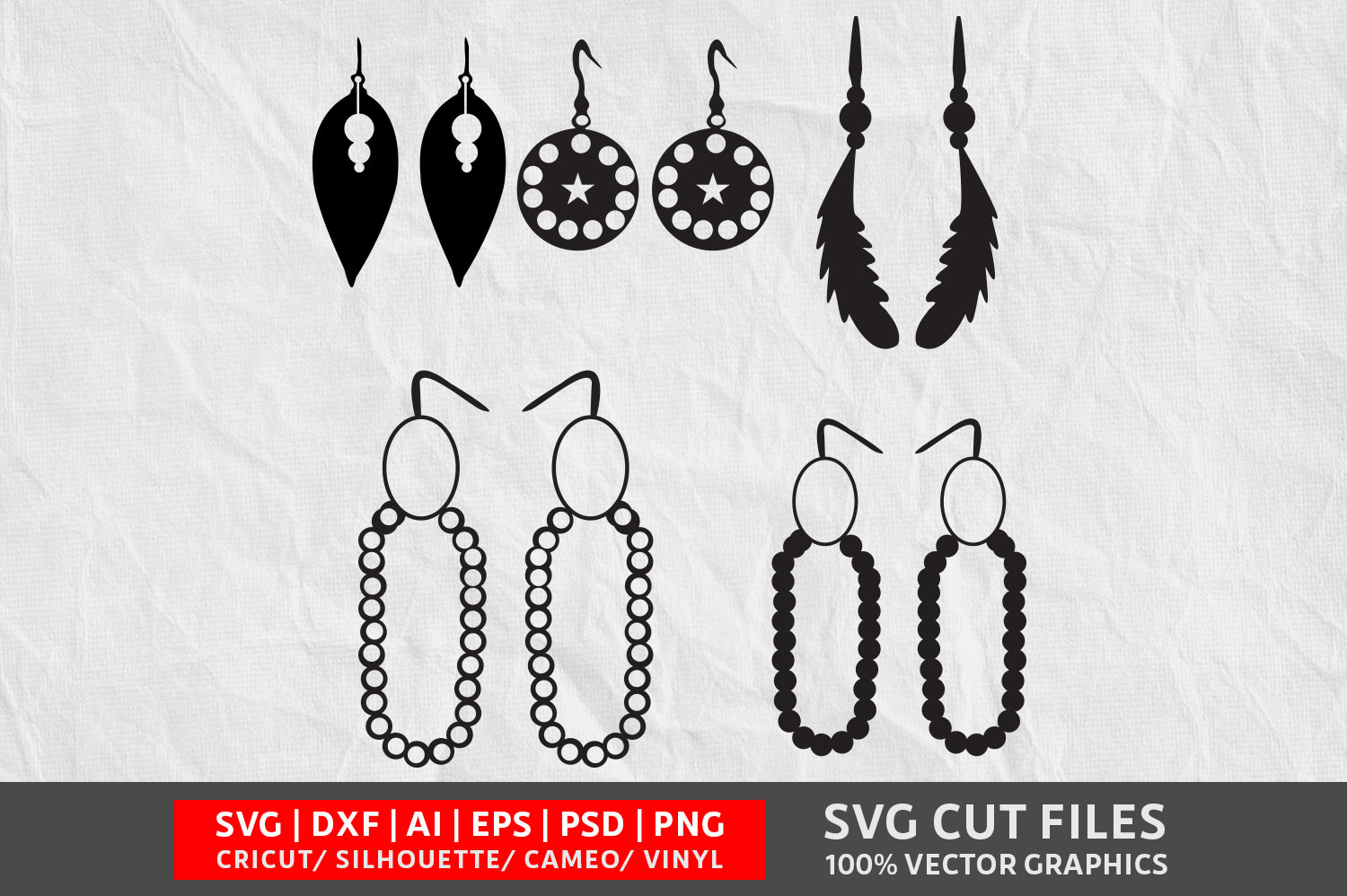 Download Free Earrings Vol 3 Svg Graphic By Design Palace Creative Fabrica for Cricut Explore, Silhouette and other cutting machines.