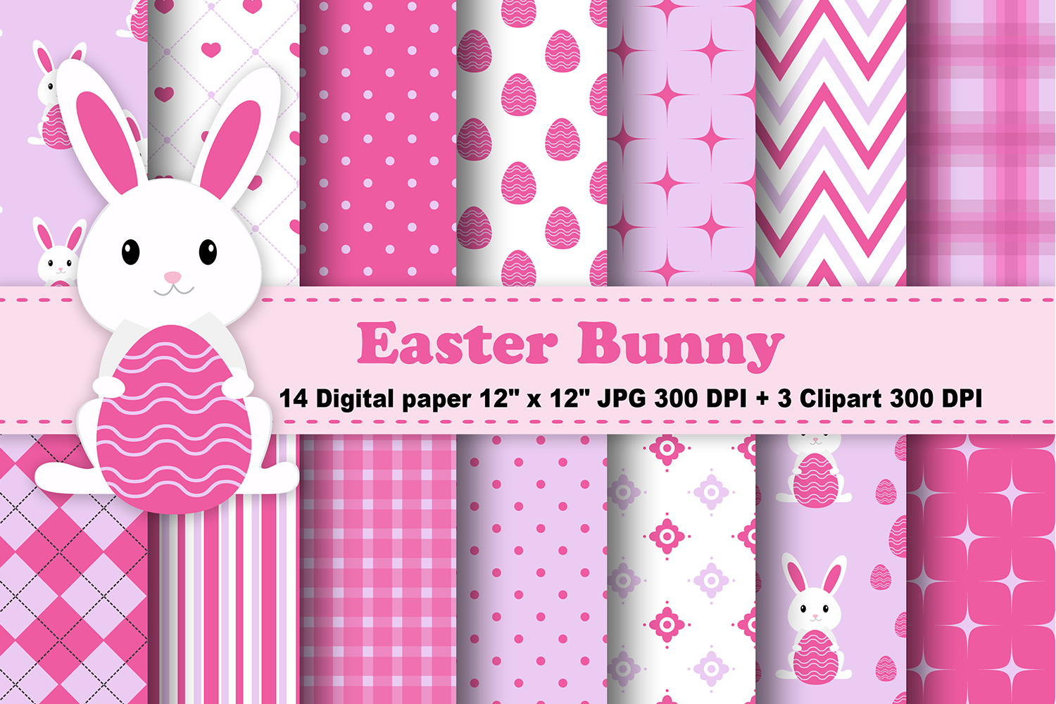 Download Free Easter Bunny Digital Paper Graphic By Cosmosfineart Creative for Cricut Explore, Silhouette and other cutting machines.