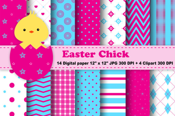 Print on Demand: Easter Chick Digital Paper Graphic Patterns By CosmosFineArt