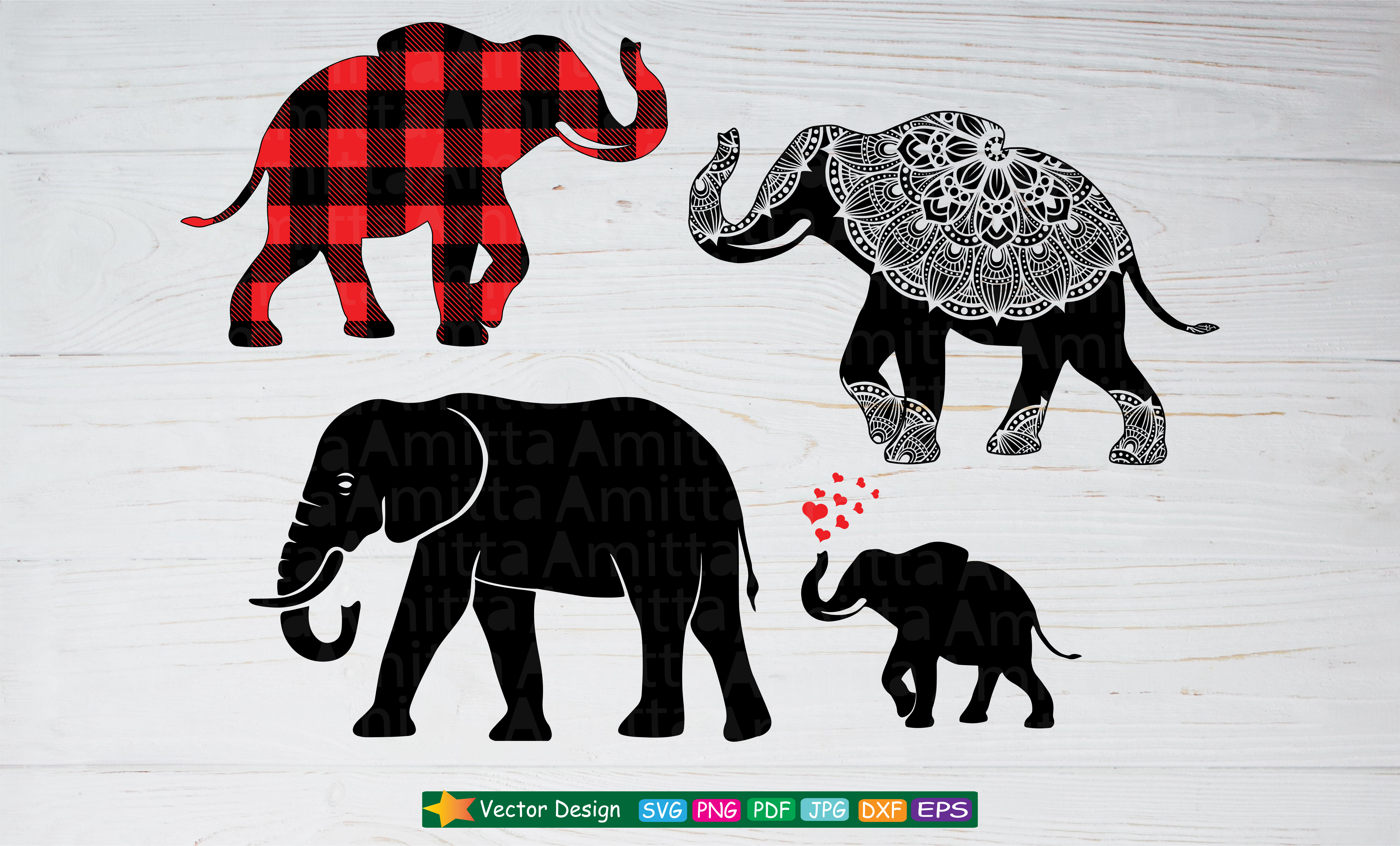 Download Free Elephant Bundle Graphic By Amitta Creative Fabrica for Cricut Explore, Silhouette and other cutting machines.