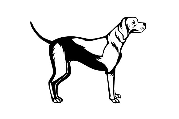 Download Free English Pointer With Tail Straight Up In The Air Black And White for Cricut Explore, Silhouette and other cutting machines.