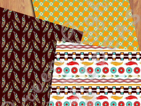 Ethnic Boho Digital Papers Graphic Patterns By GreenLightIdeas - Image 2