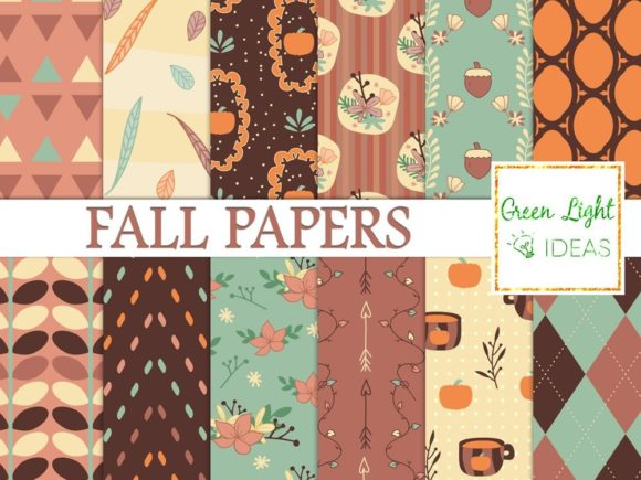 Fall Pumpkin Digital Papers Graphic Backgrounds By GreenLightIdeas