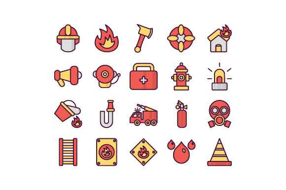 Fire Fighter Set Filled Outline Icon Graphic Icons By rudezstudio