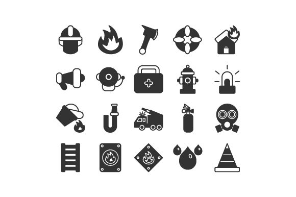 Fire Fighter Set Glyph Icon Graphic Icons By rudezstudio