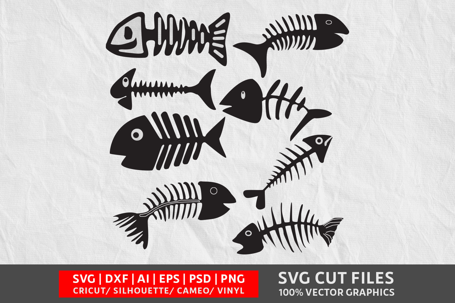 Download Free Fish Bone Graphic By Design Palace Creative Fabrica for Cricut Explore, Silhouette and other cutting machines.