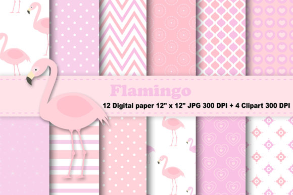 Print on Demand: Flamingo Digital Paper Graphic Patterns By CosmosFineArt