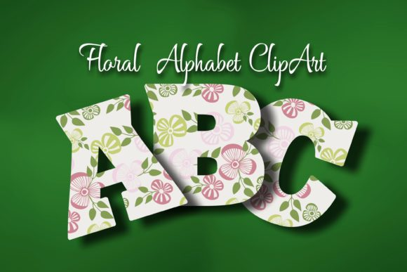 Floral Alphabet ClipArt Graphic Objects By Eva Barabasne Olasz - Image 2