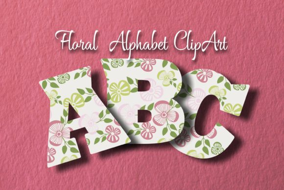 Floral Alphabet ClipArt Graphic Objects By Eva Barabasne Olasz - Image 3