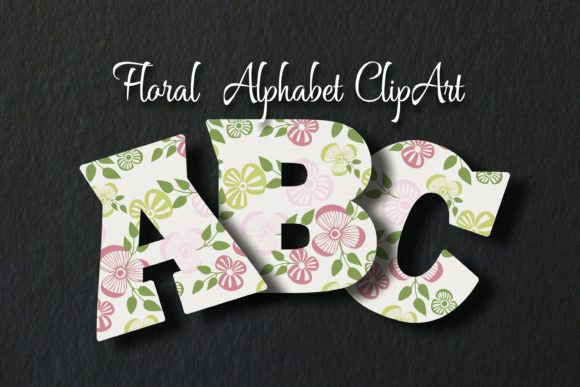 Floral Alphabet ClipArt Graphic Objects By Eva Barabasne Olasz - Image 4