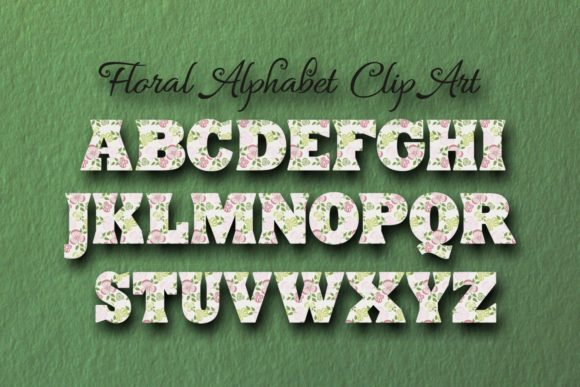 Floral Alphabet ClipArt Graphic Objects By Eva Barabasne Olasz - Image 5