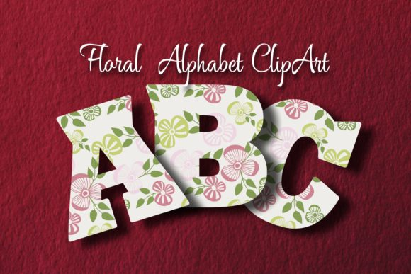 Floral Alphabet ClipArt Graphic Objects By Eva Barabasne Olasz - Image 1
