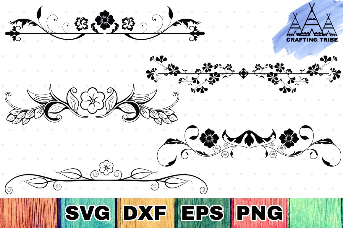 Download Free Floral Dividers Graphic By Craftingtribe Creative Fabrica for Cricut Explore, Silhouette and other cutting machines.