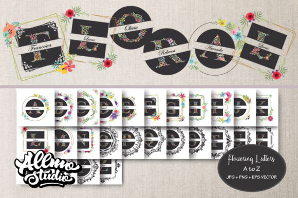 Floral Initial Letters Clipart and Graphics Gráfico Crafts Por AllmoStudio