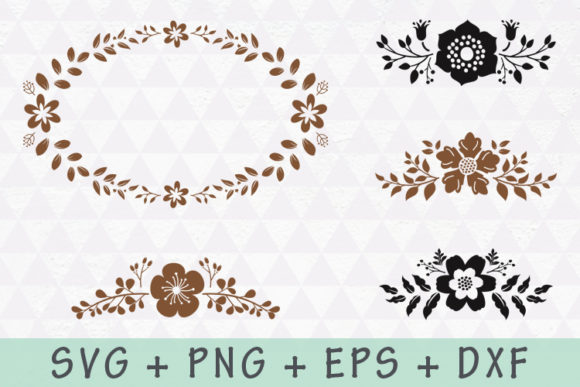 Download Free Floral Wreath And Flourishes Set Graphic By Allmostudio for Cricut Explore, Silhouette and other cutting machines.
