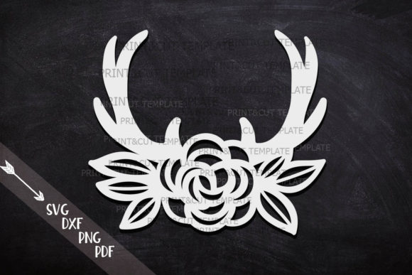 Download Free Floral Antlers Graphic By Cornelia Creative Fabrica for Cricut Explore, Silhouette and other cutting machines.