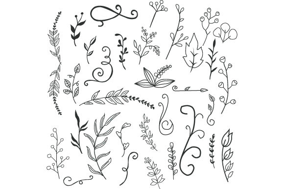 Print on Demand: Floral Doodle Vector Icon Set Graphic Icons By iop_micro