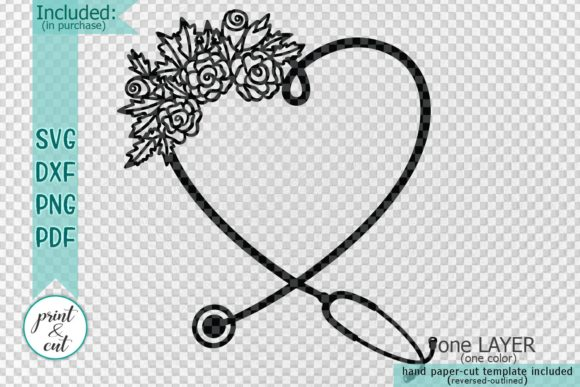 Download Free Floral Stethoscope Graphic By Cornelia Creative Fabrica for Cricut Explore, Silhouette and other cutting machines.