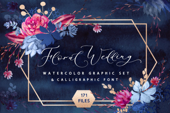 Print on Demand: Floral Wedding Graphics & Script Graphic Objects By Iradvilyuk