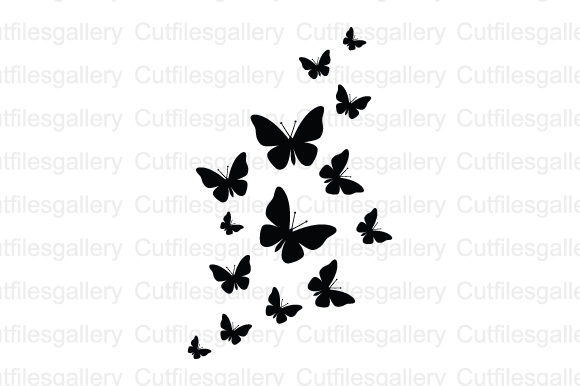 Download Free Fluttering Butterflies Graphic By Cutfilesgallery Creative Fabrica for Cricut Explore, Silhouette and other cutting machines.