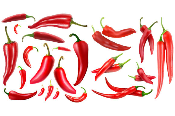 Fresh Red Chili with Gradient Mesh Graphic Illustrations By MrBrahmana