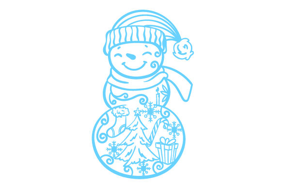 Full Bodied Snowman With Winter Ornaments On His Body Svg Cut