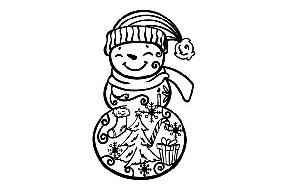 Download Free Full Bodied Snowman With Winter Ornaments On His Body Svg Cut for Cricut Explore, Silhouette and other cutting machines.