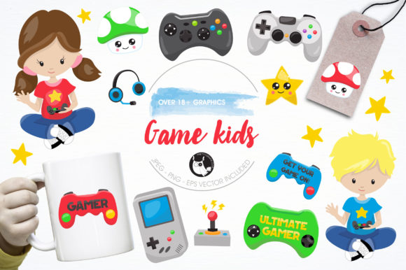 Print on Demand: Game Kids Clipart Set Graphic Illustrations By Prettygrafik