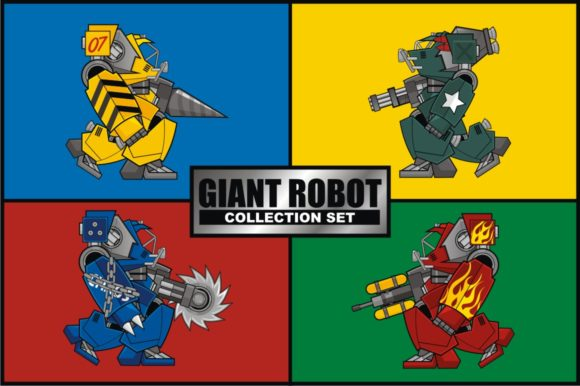 Download Free Giant Robot Collection Set Graphic By Azkaryzki Creative Fabrica for Cricut Explore, Silhouette and other cutting machines.