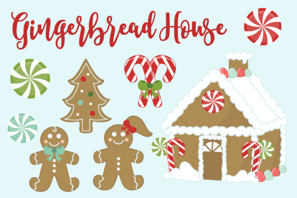 Print on Demand: Gingerbread House Christmas Cookie Set Graphic Illustrations By sonyadehart