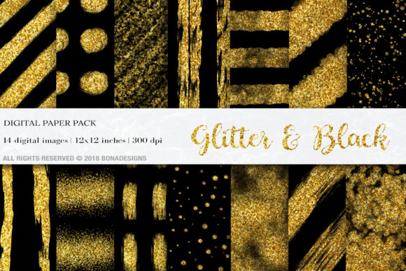 Glitter & Black Digital Papers Graphic Textures By BonaDesigns