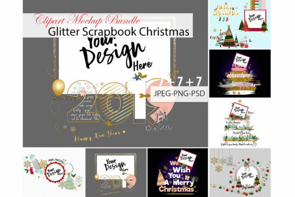 Print on Demand: Glitter Scrapbook Christmas Clipart Mockup Bundle Graphic Product Mockups By 3Motional