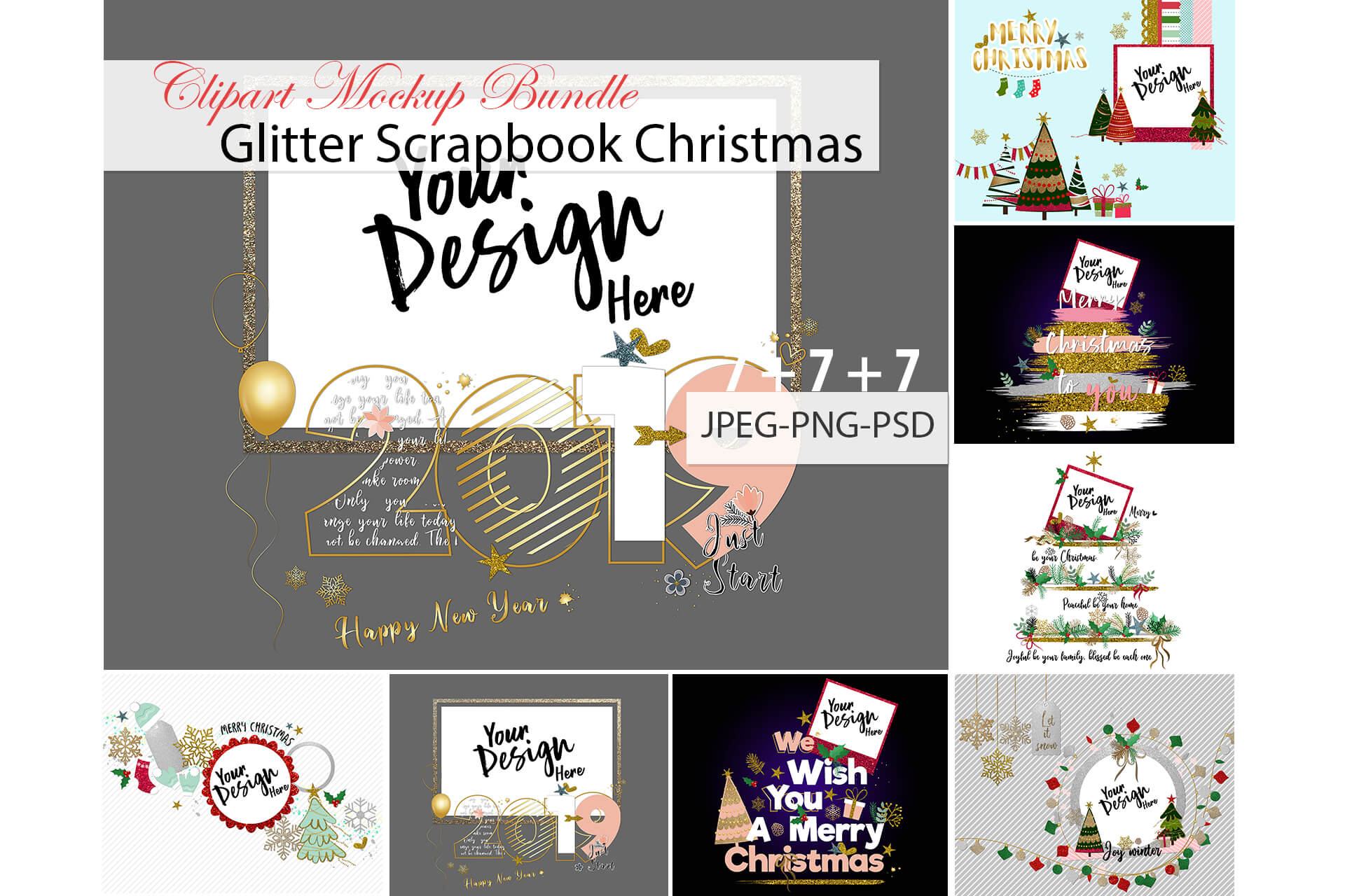 Download Free Glitter Scrapbook Christmas Clipart Mockup Bundle Graphic By for Cricut Explore, Silhouette and other cutting machines.