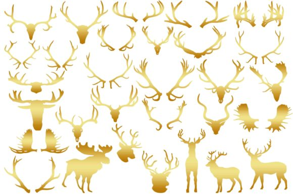 Print on Demand: Gold Antlers Clip Art Graphic Illustrations By retrowalldecor