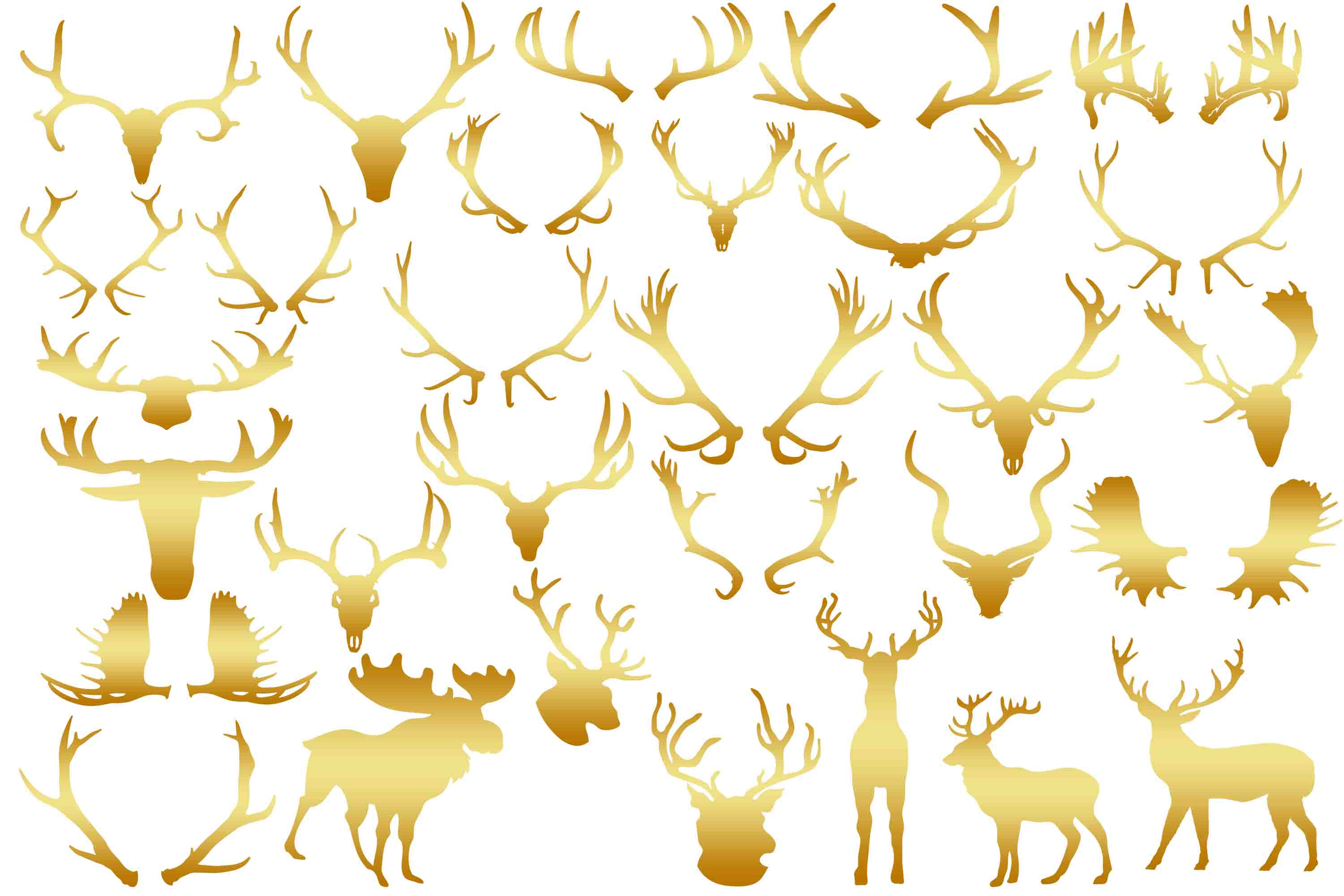 Download Free Gold Antlers Clip Art Graphic By Retrowalldecor Creative Fabrica for Cricut Explore, Silhouette and other cutting machines.