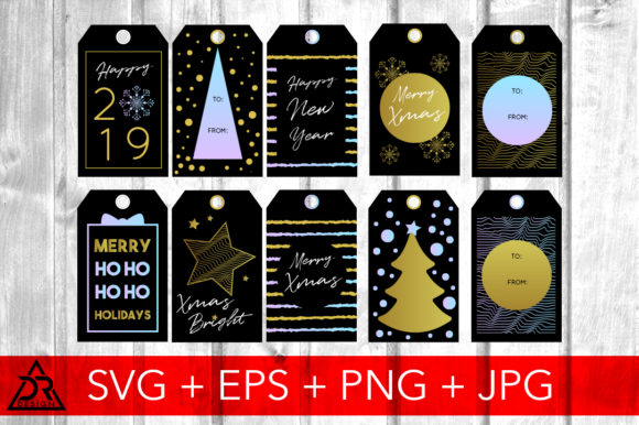 Print on Demand: Gold Christmas Tags Graphic Illustrations By davidrockdesign