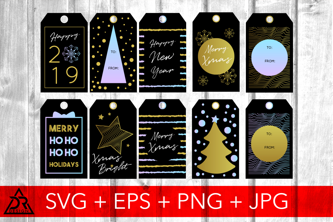 Download Free Gold Christmas Tags Graphic By Davidrockdesign Creative Fabrica for Cricut Explore, Silhouette and other cutting machines.