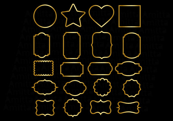 Print on Demand: Gold Frames Clipart Graphic Illustrations By Amitta