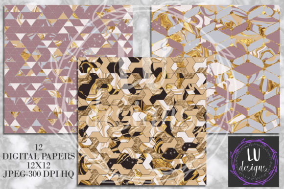 Download Free Gold Geometric Abstract Marble Backgrounds Graphic By Lu Designs for Cricut Explore, Silhouette and other cutting machines.