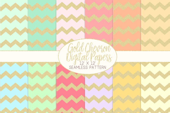Download Free Gold Glitter Chevron Pattern Digital Papers Graphic By SVG Cut Files