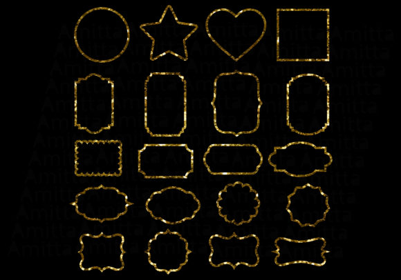 Print on Demand: Gold Glitter Frames Clipart Graphic Illustrations By Amitta