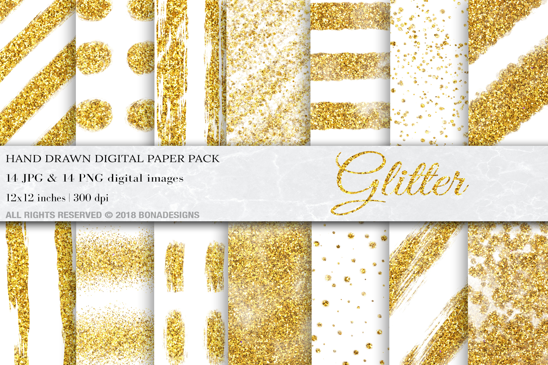 Download Free Gold Glitter White Digital Papers Graphic By Bonadesigns for Cricut Explore, Silhouette and other cutting machines.